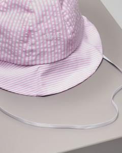 Berretto rosa e bianco seersucker