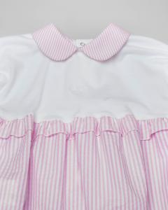 Pagliaccetto bianco e rosa a righe