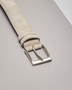 Cintura beige in pelle scamosciata