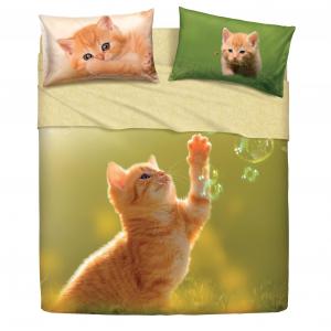 Bassetti lenzuola matrimoniale 2 piazze cotone Play Cat effetto copriletto