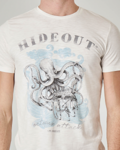 T-shirt bianca con stampa octopus