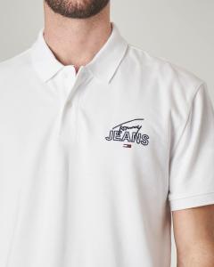 Polo bianca con logo in corsivo