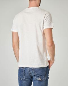 T-shirt bianca con stampa lampadina e faro
