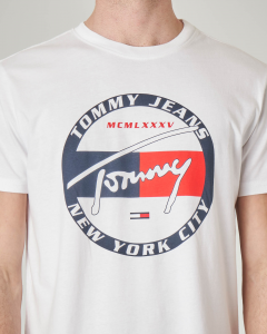 T-shirt bianca con logo circolare