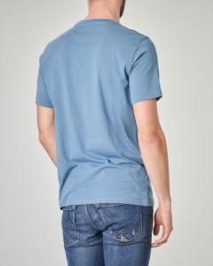 T-shirt blu avio con logo rosso