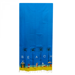 Fouta beach towel in cotton with fringes 90x180 cm SKIPPER turquoise