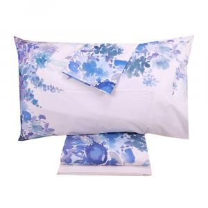 Bettlaken mit doppelter Bettdecke TWINSET Printemps blaues Baumwollgewebe