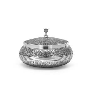 Scatola biscottiera in Sheffield placcato argento stile Cesellato cm.12h diam.17