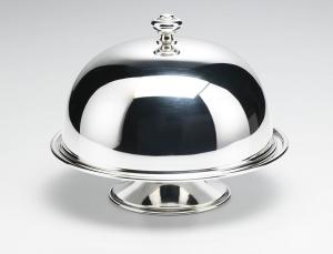 Alzata tonda in metallo placcato argento con campana cm.21h diam.26
