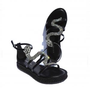 Sandalo basso nero o rosa con serpente Apepazza