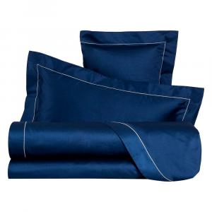 LA PERLA set lenzuola CLEOPATRA raso di puro cotone unito con cordonetto blu