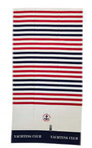 Sponge beach towel YACHTING CLUB Size Large Blue red bed