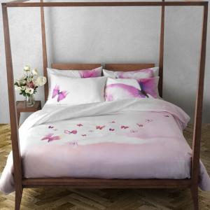 Double duvet cover TWINSET complete MIRAGE pink butterflies