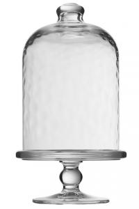 Alzata dolci pasticceria in vetro con campana in vetro martellata cm.23h diam.10