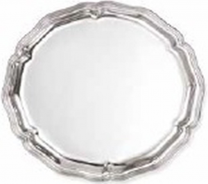 Vassoio tondo placcato argento stile Settecento cm.diam.30