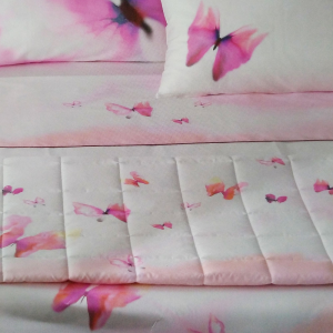 Quilted double bedspread TWIN TWINSET Mirage pink butterflies