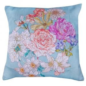 Decorative cushion - Lining x Decorative ZUCCHI pillows Floralia light blue