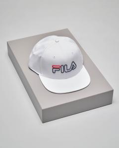 Cappellino in twill di cotone bianco con visiera e logo a contrasto