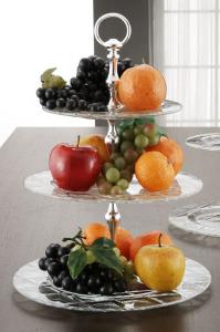Alzata tonda per dolci e frutta in vetro 3 piani con manico in metallo placcato argento cm.44h