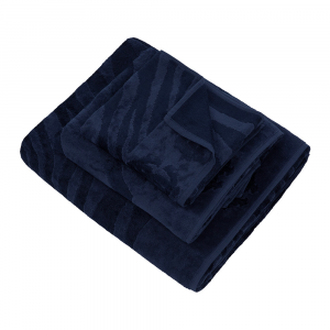 Roberto Cavalli set 1+1 asciugamano e ospite ZEBRAGE spugna - blu