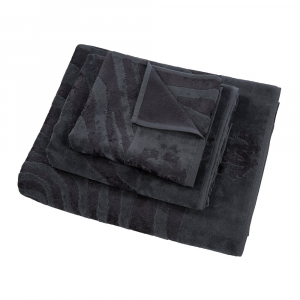 Roberto Cavalli set 1+1 asciugamano e ospite ZEBRAGE in spugna - charcoal