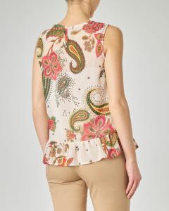 Top senza maniche beige in georgette con disegni floreali e cachmere