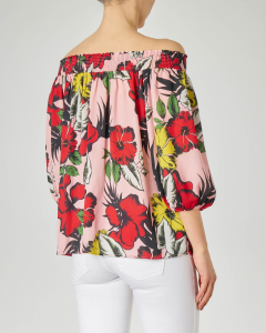 Blusa rosa a fantasia floreale multicolor con scollo bardot e maniche tre quarti