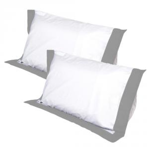 Coppia Cuscini con Elegante Set di 4 Fodere GRATIS in Morbido Cotone Bianco + Balza Grigia, 2 Guanciali 100% Memory Foam per dolori CERVICALI in Schiuma Ergonomica ANTIACARO