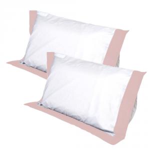 Coppia Cuscini con Elegante Set di 4 Fodere GRATIS in Morbido Cotone Bianco + Balza Rosa, 2 Guanciali 100% Memory Foam per dolori CERVICALI in Schiuma Ergonomica ANTIACARO