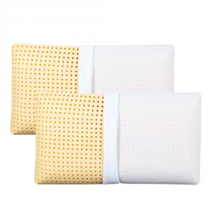 Coppia Cuscini con Elegante Set di 4 Fodere GRATIS in Morbido Cotone Bianco + Balza e Riga Nera, 2 Guanciali 100% Memory Foam per dolori CERVICALI in Schiuma Ergonomica ANTIACARO