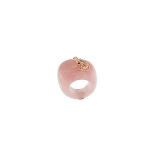 Anello in pietra, oro 9k e diamante