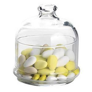 Scatola porta confetti caramelle con cupola e piattino in vetro cl 55 cm.12x12,5x17h diam.11,2