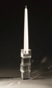 Candelabro in cristallo 1 fiamma cubo piccolo cm.4x4x16h