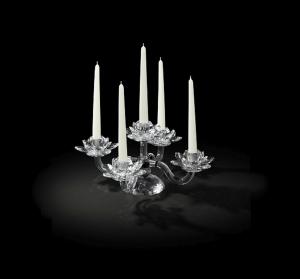 Candelabro in cristallo 5 fiamme cm.21h diam.41