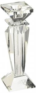 Candelabro in cristallo singolo con glitter medio cm.6x6x18h
