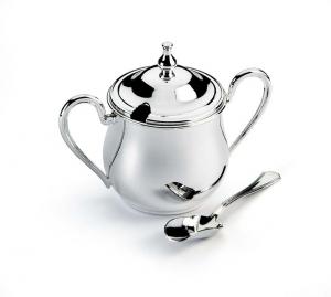Zuccheriera argentato argento con sessolina stile Inglese cm.14x7x11h diam.7