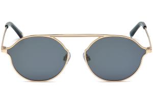 Web - Occhiale da Sole Unisex, Shiny Rose Gold/Blu Mirror WE0198 28X C57