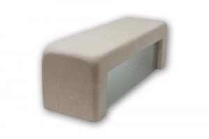 Applique in pietra leccese squadrata con vetro satinato - lampada da parete in pietra