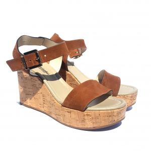 Sandalo cuoio con zeppa in sughero Nero Giardini