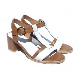Sandalo bicolore cuoio/bianco Nero Giardini