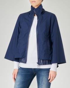 Giubbino blu in cotone con cappuccio e maniche a kimono