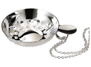 Tastevin placcato argento con catena cm.11,5x8,5x2,5h diam.8