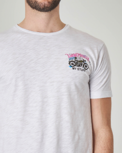 T-shirt bianca con stampa moto