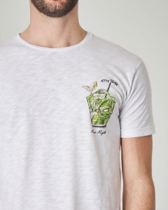 T-shirt bianca con stampa kiwi mojito