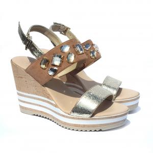 Sandalo con zeppa cuoio/platino Repo