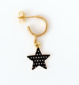 Orecchini a cerchio in ottone galvanizzato con stelle pendenti