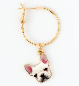 Orecchini a cerchio in ottone galvanizzato con stella e cane bulldog pendenti