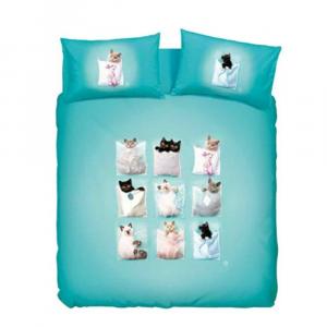 Einzelner quadratischer Bettbezug 1 kompletter Digitaldruck von BASSETTI KITTIES