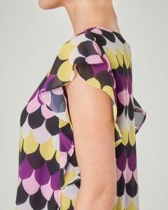 Blusa girocollo a fantasia optical viola e giallo con maniche a volant