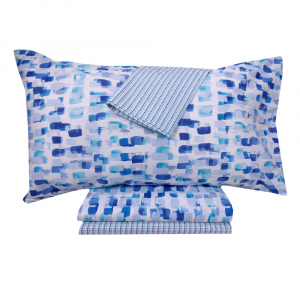 Set lenzuola singolo Bassetti TIME Splash Colors bluette in sconto